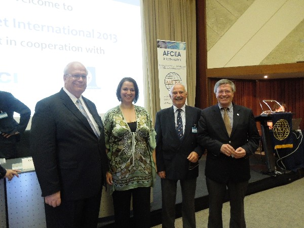 In October, gathering for TechNet International are (l-r) Kent R. Schneider, president and chief executive officer, AFCEA International; Androniki Nikolakopoulou, Hellenic Chapter; Athanasopoulos; and Maj. Gen. Klaus-Peter Treche, GEAF (Ret.), general manager, AFCEA Europe.