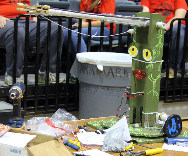 This robot, designed and decorated by students from Navarro High School, awaits competition at an SA BEST tournament in November. The team behind this robot was awarded $1,000 in scholarships for sportsmanship at the November competition.