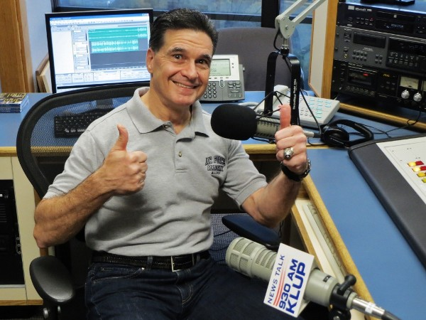 Brig. Gen. Sean Murphy, USAF, commander of the Air Force Medical Operations Agency, gives a big thumbs-up to the chapter-sponsored Military City USA Radio as the guest on its 200th episode in December.