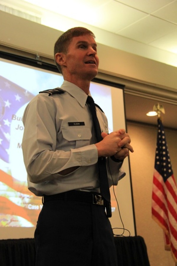 Maj. Gen. Craig Olson, USAF, program executive officer for command, control, communications, infrastructure and networks, discusses the path toward a Joint Information Environment with the chapter in January.