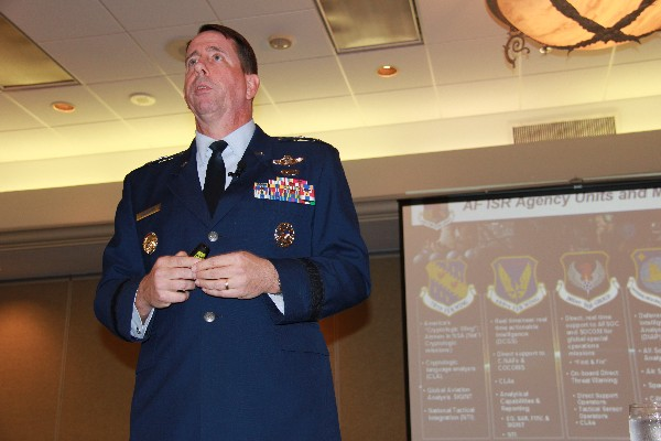 Maj. Gen. Jack Shanahan, USAF, commander, Air Force Intelligence, Surveillance and Reconnaissance Agency, addresses the chapter in February.