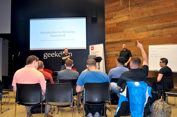 Charlie Weissenborn, vice president of Young AFCEA, answers preliminary questions for the chapter's first Tech Talk in February at Geekdom, a co-working space in San Antonio.