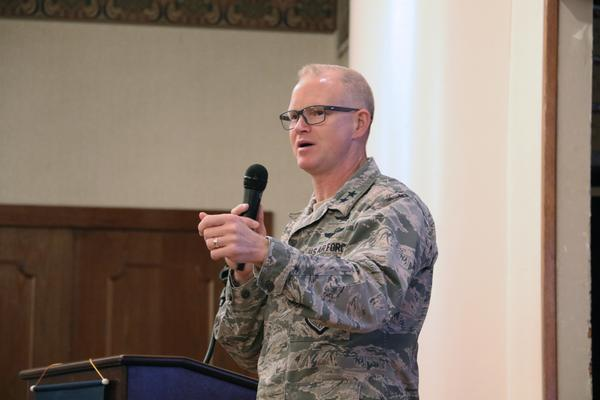 Maj. Gen. Christopher Weggeman, USAF, commander of the 24th Air Force and Air Forces Cyber, Joint Base San Antonio-Lackland, Texas, discusses cyber successes and pitfalls during the chapter's June luncheon.