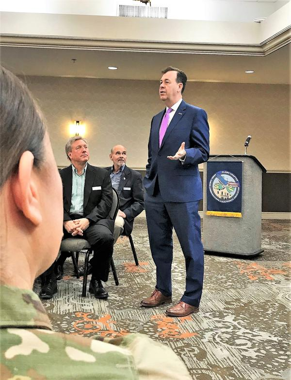 Brig. Gen. Greg Touhill, USAF (Ret.), president, Cyxtera Federal Group, addresses chapter members and attendees during the April monthly Lunch. Learn. Network. event and discusses cybersecurity and risk management.