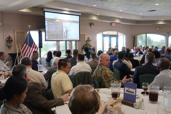 Col. Wade Johnston, USA, chief information officer, Army Futures Command, explains the challenges facing the Army today to members and attendees of the chapter's July luncheon.