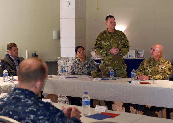 In September, Col. Jeff Sorrell, USAF, chapter vice president of military affairs, briefs attendees on the AFCEA organization during a community outreach visit to Goodfellow Air Force Base in San Angelo, Texas.