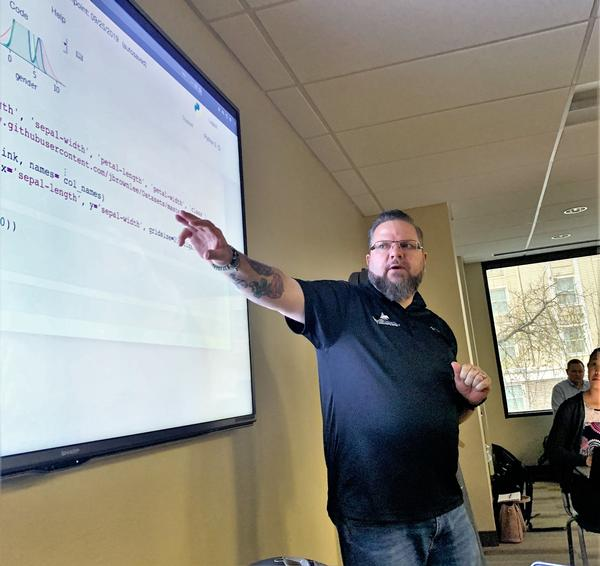 Stephen Scarbrough, senior SIGINT development analyst, Intelligenesis LLC, leads a two-day data science class to chapter members. The January classes were the first of the Lunch-N-Learn initiatives reactivated in 2019.