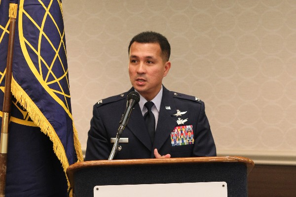 Col. Amando E. Gavino Jr., USAF, director of communications and chief information officer, Air Force Intelligence, Surveillance and Reconnaissance Agency, serves as guest speaker during the chapter's October luncheon event.