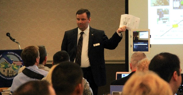 In February, Joseph Thele, director of the Air Force Personnel Operations Agency, discusses the mission, goals and current operating conditions for his agency at the chapter's monthly luncheon.