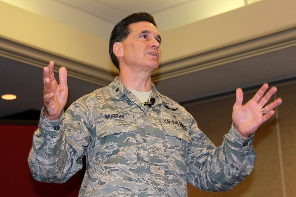 ALAMO—Brig. Gen. Sean Murphy, USAF, commander of the Air Force Medical Operations Agency, emphasizes a point during his keynote speech at the chapter's luncheon in June.