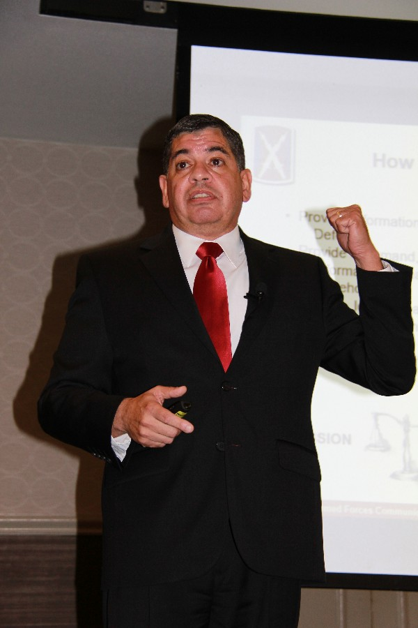 Jesus RosaVelez, director of the U.S. Army Signal Network Enterprise Center (NEC) at Joint Base San Antonio-Fort Sam Houston, discusses the mission and culture of the NEC at the chapter luncheon in March.