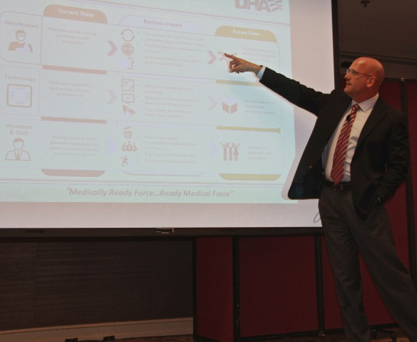 Dr. Peter Marks, acting chief operating officer for the Defense Health Agency Infrastructure and Operations Directorate, discusses the steps involved with deploying the new electronic health record concept during the Alamo chapter's July luncheon.