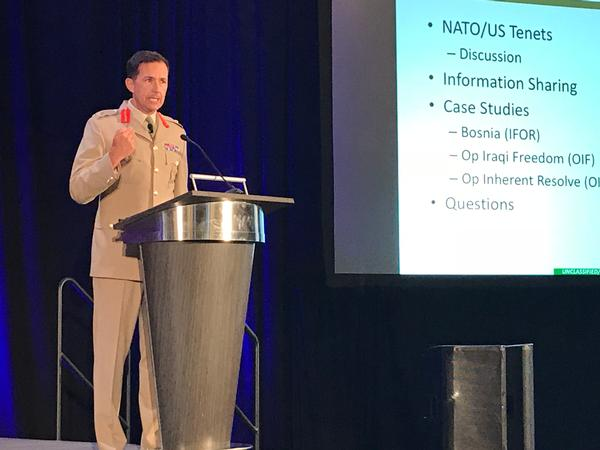 Maj. Gen. Doug Chalmers, British Officer and III Corps deputy commander at Fort Hood, presents a NATO and international perspective on counter-offensive combat operations and collaboration during the event in November.