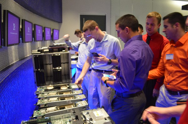 A group of college students and airmen from the chapter's Young AFCEANs tour the Dell Solutions Data Center in April during an Industry Tour that also took them to the offices of Oracle Corporation in Austin, Texas.
