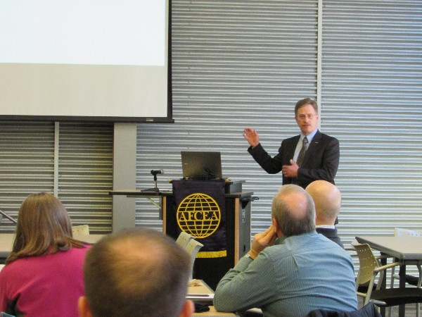 Pat Shier, chief information officer and associate vice chancellor of the University of Alaska Anchorage (UAA), presents to the chapter at its first luncheon of 2015.