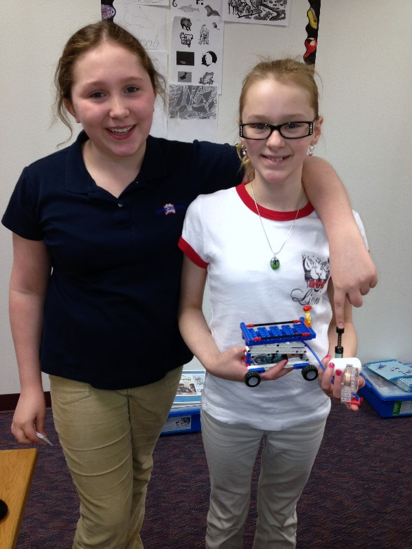 Students at Anchorage Christian School pose with their pneumatics LEGO project in May, funded by a chapter grant.