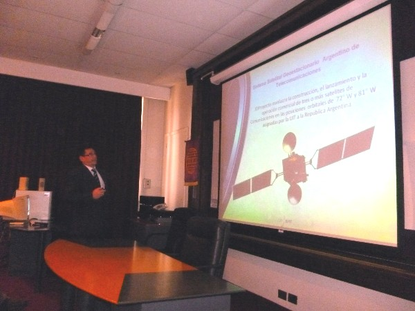 ARGENTINA�Eng. Miguel Pesado, director of ArSat, speaks at the May conference at Argentina Army University.