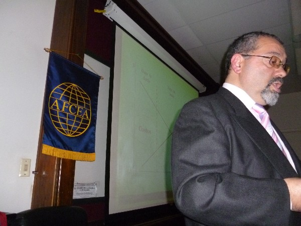 Claudio Muoz, professor and director of the Electromagnetic Compatibility Laboratory at the Technological Institute of Buenos Aires, presents at the chapter�s August conference.