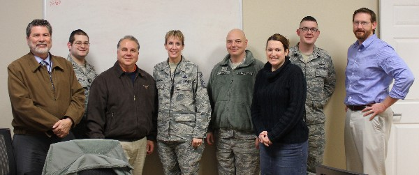 Present at the January chapter board meeting to vote on an interim executive vice president (l-r) are Benjamin Rosales; Lt. Chaim Shmuel Stitzer, USAF; outgoing executive vice president Kevin Smith; Senior Master Sgt. Barbara Schleben, USAF; Master Sgt. Alfred O'Connor; Brigette Melton of General Dynamics Information Technology; Lt. Timothy Hoffman, USAF; and Joshua Fisher of General Dynamics Information Technology.