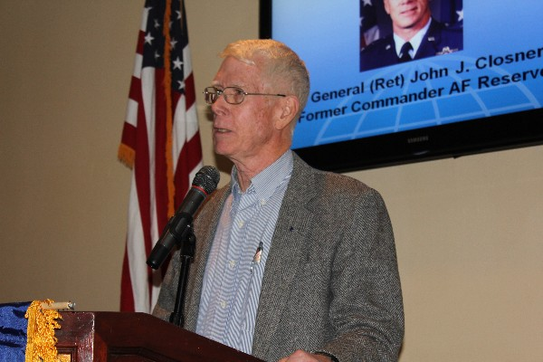 Maj. Gen. John Closner, USAF (Ret.), former Air Force Reserve commander, addresses the chapter at its January luncheon. Photo courtesy of Jill Macchiaverna.