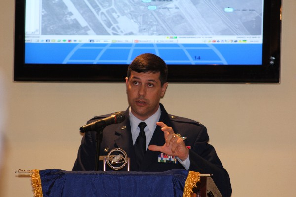 Col. Andrew Gebara, USAF, commander, 2nd Bomb Wing, speaks about current and future Air Force cyber capabilities at the chapter�s November luncheon.