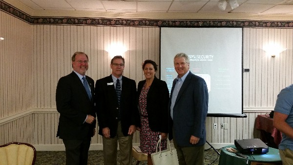 At the May Lunch and Learn are (from l) guest speaker Tom Patterson, vice president and general manager of Unisys Global Security Solutions; Bob Damen, chapter president; Grace Belangia of the Clubhouse; and Brig. Gen. Jeff Foley (Ret.), USA, of Loral Mountain Solutions LLC.