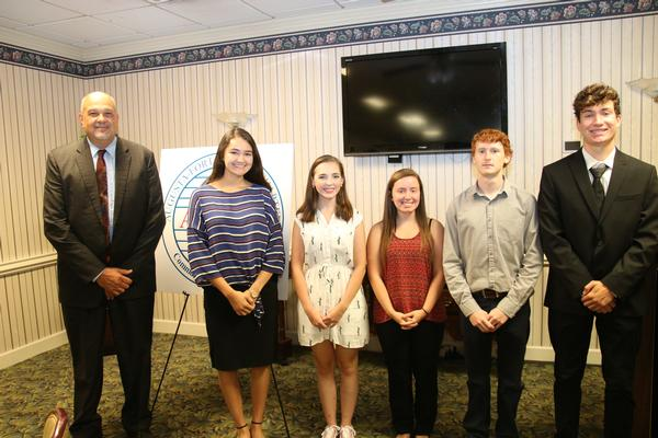 Ed Velez, chapter president (l), honors scholarship recipients at the chapter's July awards presentation. In attendance were (from 2nd from l) Sarah Martinez, Rachel Burger, Caitrin Blankenship, Jackson McCarthy and James Driscoll.