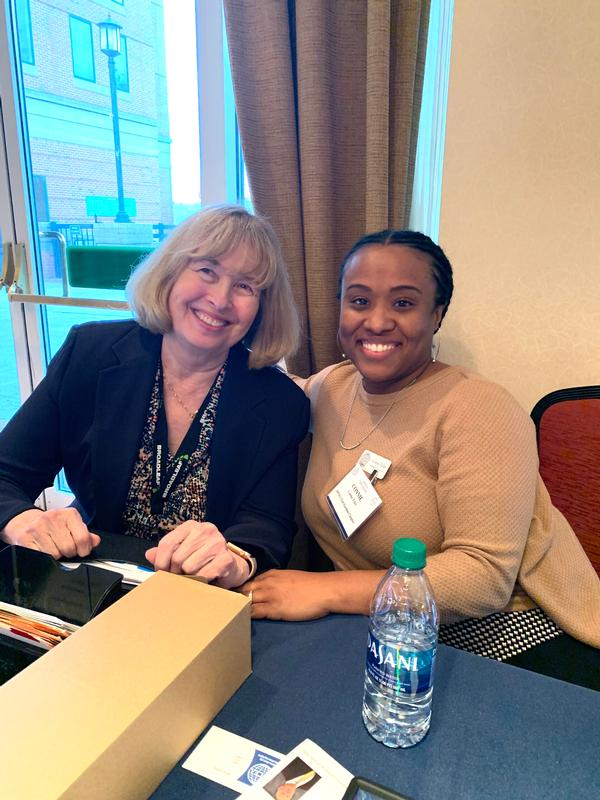 Chapter's Regional Vice President Pat Harrington and Connie Tyler support registration during January's Cyber Education, Research, and Training Symposium (CERTS).
