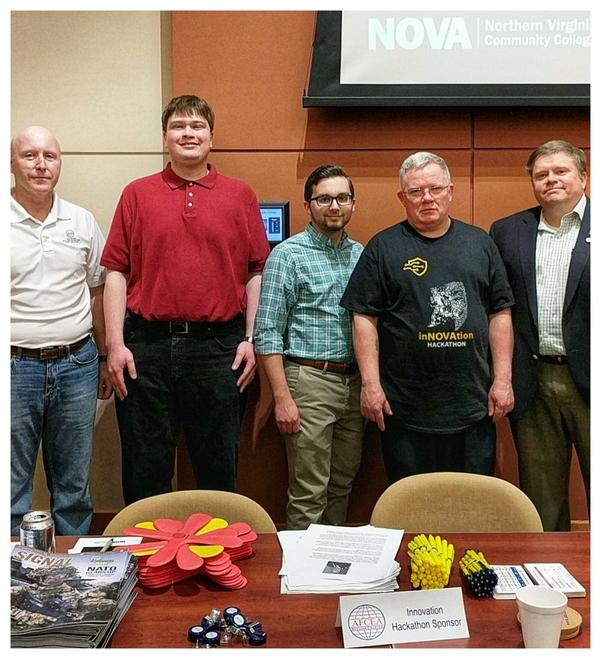 Northern Virginia Community College (NVCC) Student Chapter leaders (from 2nd from l) Andrew Brant, executive vice president, Evan Colley, president, and Walter Pehrsson, NVCC professor and adviser, gather with Belvoir Chapter President Bill Jones (l) and Jeff Thompson, Belvoir strategic initiatives chair, during the April hackathon.