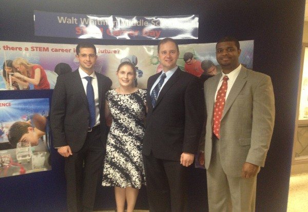 BELVOIR—From left, Daniel Shaer, chapter vice president, Young AFCEANs; Ashley Becker, chapter vice president, small business; Andrew Renken, Young AFCEAN; and Eron Jordan, chapter treasurer, represented AFCEA Belvoir at the STEM Career Day in June.