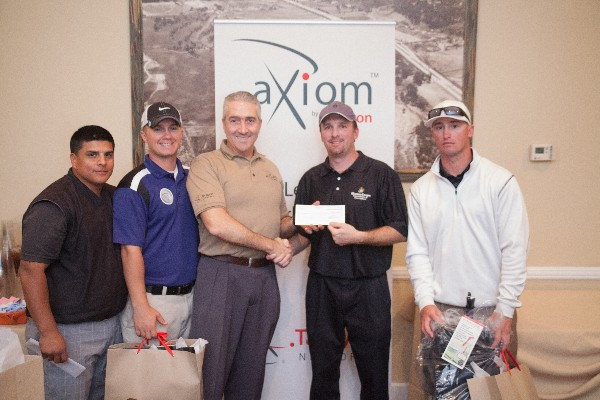 Together at the February scholarship golf tournament are (l-r) HM2 Fernando Abundis, Wounded Warrior Battalion � West; HM2 Will Frey, Wounded Warrior Battalion � West; Peter Carides, chief executive officer, Tachyon Networks; Thomas Corzine, chapter fundraising chairman; and Staff Sgt. Jacob Nelson, USMC, Wounded Warrior Battalion � West.