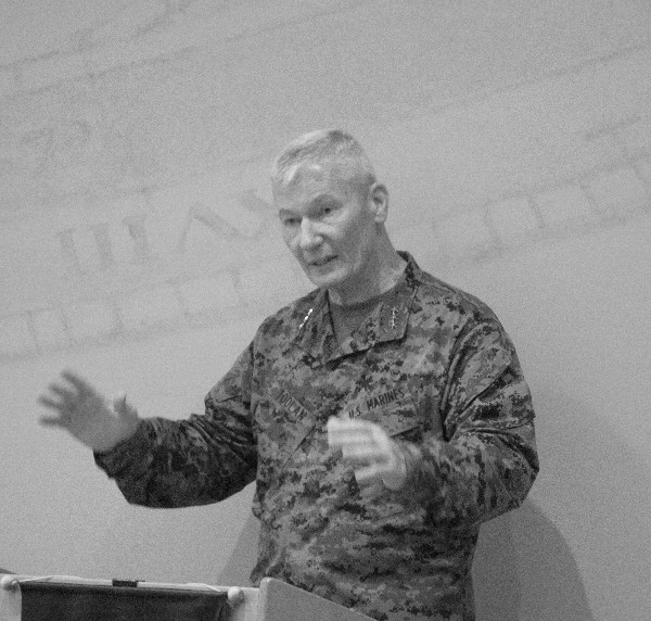 Lt. Gen. John Toolan, USMC, commanding general, I Marine Expeditionary Force, speaks to the December luncheon crowd.