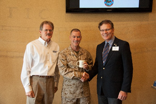 Together at the August luncheon are (l-r) Daniel O'Donnell, vice president for business development at Network Critical; Col. Standfield; and Mark Witzel, chapter president.