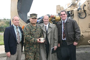 After the January meeting, Michael Murphy (l), team lead for the Joint Interoperability of Tactical Command and Control Systems (JINTACCS), Marine Corps Tactical Systems Support Activity (MCTSSA) Interoperability branch;