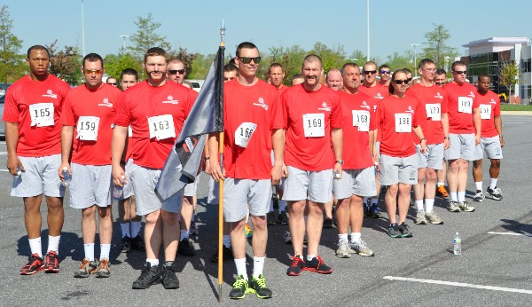 Howard County First Responders recruits prep to run in the chapter�s April event, which raised scholarship funds.