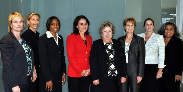 Panelists at the chapter's October event are (l-r) Lise Mangerie, chief of BA4, contracts management, National Security Agency (NSA); Lisa Robertazzi, director of Enterprise Mission Solutions Operating Unit, Northrop Grumman; Cynthia Crutchfield, vice president of intelligence and commercial programs for Oceus Networks; Maureen Baginski, chief executive officer, National Security Partners; Rosemary Budd, vice president, TASC; Doreen Harwood, chief, BA6, Program Executive Office, Mission Management, Net Centric Capabilities and Analysis and Production, NSA; Diane Dunshee, deputy program executive officer for analysis and production, NSA; and Diana Keys, NSA, chief of the Cyber Portfolio Management Office in U.S. Cyber Command/J-8, (Capability and Resource Integration Directorate).
