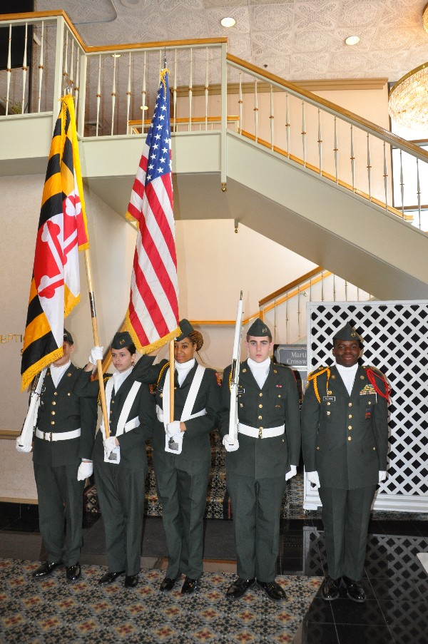 The Ft. Meade High School RTOC Color Guard presents the colors for the chapter's January luncheon.