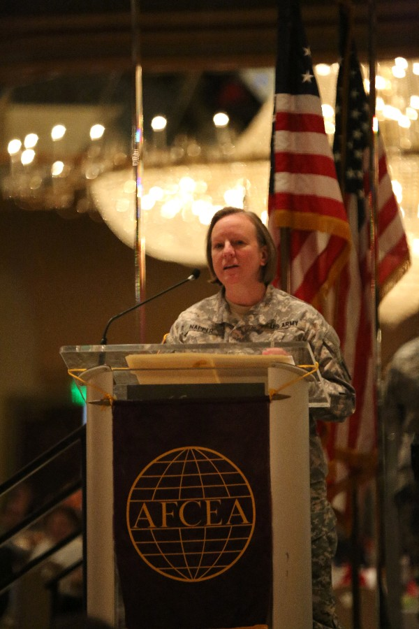 Maj. Gen. Jennifer Napper, USA, chief of J-5, U.S. Cyber Command, serves as the government speaker for the chapter's October luncheon.