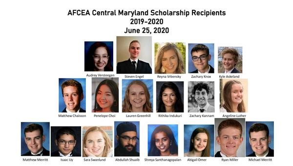 Students receiving scholarships this year are: George R. Cotter Scholarship—Steven Engel and Abigail Omer; Timothy J. Sheahan Scholarship—Rithika Indukuri; Bruce and Jessica Morgenstern Community College STEM Scholarship—Zachary Knox; Women in Technology Scholarship—Shreya Santhanagopalan; Kathleen Berganski Women in Cyber Scholarship—Angeline Luther; Cyber Studies Scholarship—Isaac Uy; Freedom Scholarship—Matthew Chaisson and Penelope Choi; Captain John and Angie Skinner Scholarship—Kyle Askeland, Lauren Greenhill, Zachary Kannam, Matthew Merritt, Michael Merritt, Ryan Miller, Abdullah Shuaib, Sara Swanlund, Audrey Versteegen and Reyna Vrbensky. Students were awarded during the chapter's June virtual meeting.