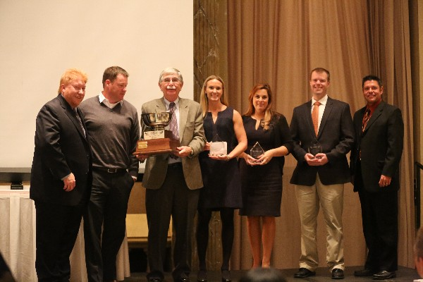 Presidents Cup winners together in October are (l-r) Dave Gore, vice president of fundraising; an SAIC teammate; Lew Shipp, SAIC (Presidents Cup/Flight A Winner); Anne Wagner, Wavestrike (Flight B Winner); Denise Desien, GANTECH Federal (Flight D Winner); TJ Greenier, Clarity Business Solutions (Flight E Winner); and Ed Grimes, chapter president. Not pictured: Flight C Winner, Prime Solutions, and Flight F Winner, Miles & Strikebridge.