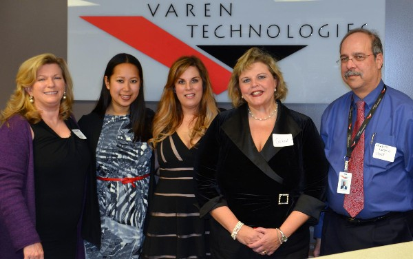 Mart Leshin (r), and Linh Nguyen (2nd from l) of Varen Technologies host the chapter's Women in Intelligence Group (WIIG) in February, including Kathleen Smith (l), Denise Desien (c) and Colleen Dilly, vice president for the WIIG.