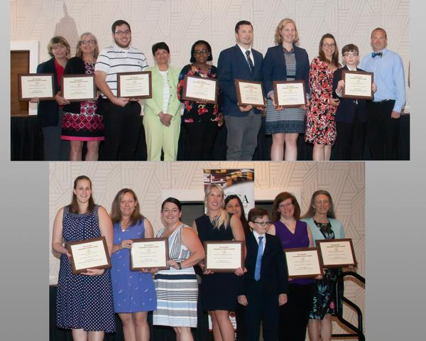 During the May annual Awards Night, the K-12 Kickstarter Grants recipients are (top picture l-r) Meade Middle School, Archbishop Spalding High School, Ellicott Mills Middle School, Dunloggin Middle School, Eldridge Landing Middle School and Key School Elementary School. In the bottom photo, the recipients are (l-r) Monarch Global Academy Elementary School, Patuxent Valley Middle School, Northfield Elementary School, Severna Park Elementary School and St. Johns the Evangelist Elementary School.