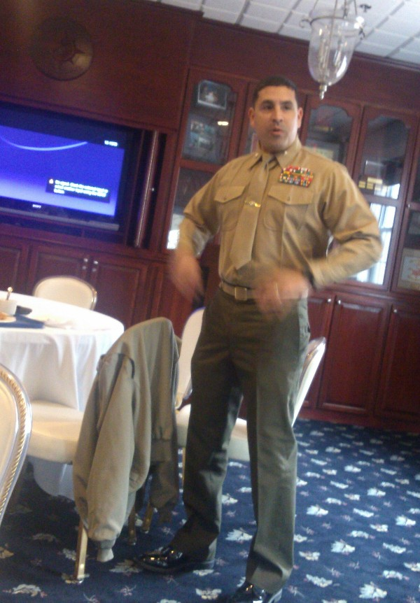 Lt. Col. Delgado, USMC, newly appointed chapter president, welcomes everyone to the February planning meeting and discusses his ideas to reinvigorate the chapter.