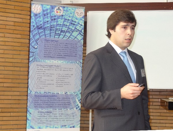 Joao Morgado, a student club member, delivers a presentation at the 6th AFCEA European Student Conference in Bucharest in March.