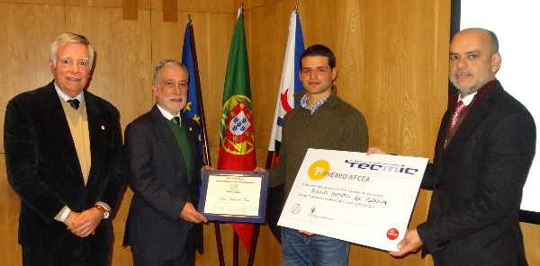 In December, aeronautical engineering student Diogo Sousa (2nd from r) receives the AFCEA Portugal Student Award from Rear Adm. Mario Durao, PRT NA (Ret.), chapter president (2nd from l), along with Fernando Moreira, Tecmic chairman of the board (far r), and Rear Adm. Carlos Rodolfo, PRT (Ret.), AFCEA director and regional vice president of the Atlantic Region.