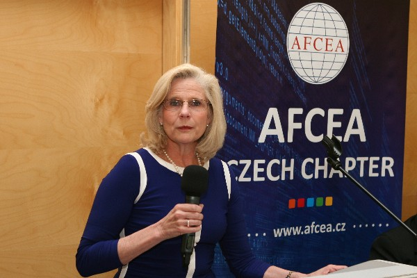 Linda Millis, vice president for industry programs, AFCEA International, gives a welcome speech at the chapter's anniversary celebration in May.