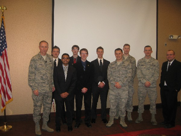 The Air Force Institute of Technology and the Dayton Regional Stem School partner for the Cyber Patriot security competition. The team is pictured with Lt. Gen. William Bender, USAF, chief, Information Dominance, and chief information officer, Office of the Secretary of the Air Force, in January.