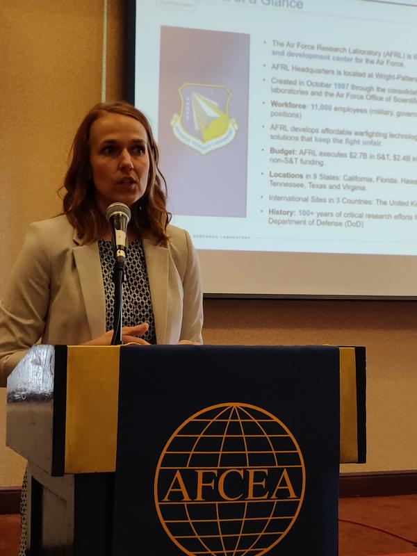 At the September luncheon, Jessica Salyer, deputy executive director, Air Force Research Laboratory, speaks to the chapter on current and future workforce efforts.