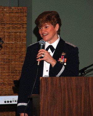 Lt. Gen. Janet Wolfenbarger, USAF, vice commander, Air Force Materiel Command, Wright-Patterson Air Force Base, Ohio, speaks at the annual Valentine's Ball, held in February.