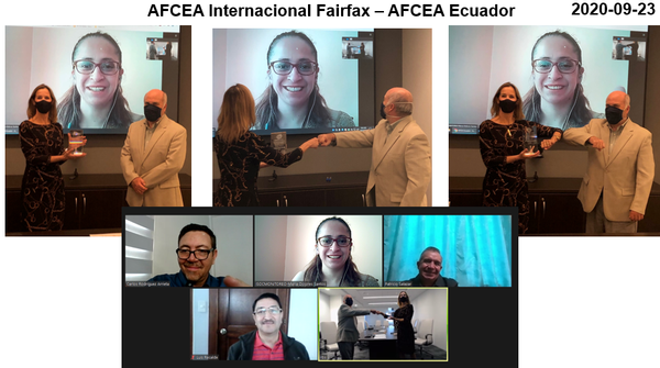 In upper photo, in September, Bruce Schulte, general manager of Aire.ec and member of the chapter (r), visits AFCEA International and meets face to face with Tina Jordan, vice president for membership, AFCEA International Headquarters. María Dolores Santos, chapter president, expresses her gratitude virtually. In the lower photo (from l to r) Carlos Rodríguez Arrieta, first chapter vice president; Maria Dolores Santos, chapter president; Col. Patricio Salazar, second chapter vice president; and Mayor Luis Recalde (Ret.), chapter treasurer, participate in a virtual visit.